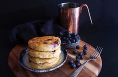 Fluffy spelt pancakes with blueberry and coconut milk