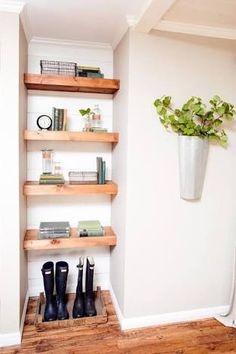 paint behind built in timber shelving - Google Search