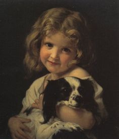 Hughes Merle (french painter) - Young girl with spaniel