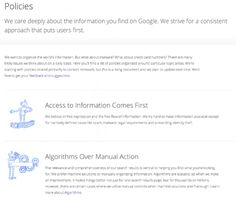 Google has assembled a new guide to all its many policies that deal with search. #google