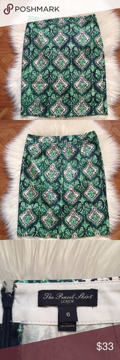 J. Crew No. 2 Pencil Skirt Green and white pencil skirt with paisley print. 100% cotton J. Crew Skirts Pencil