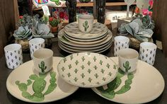 Bloomingville Cactus Dinnerware Set by Maverick Fine Western Wear - COWGIRL Magazine Cacti in the home and cactus print have been a favorite among cowgirls for many…