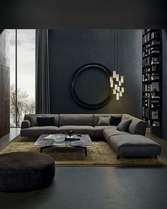 Low sofa looks modern, but overstuffed pillows make it comfortable. Super sexy s… - Home Decoraiton Low sofa looks modern, but overstuffed pillows make it comfortable. Super sexy s… – Comfortable Living Rooms, Elegant Living Room, Beautiful Living Rooms, Living Room Modern, Interior Design Living Room, Living Room Designs, Living Room Decor, Small Living, Barn Living