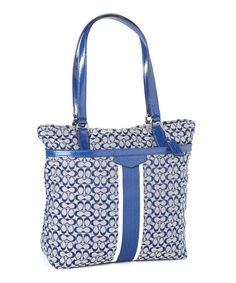 Loving this Navy & Silver Stripe Signature Tote on #zulily! #zulilyfinds