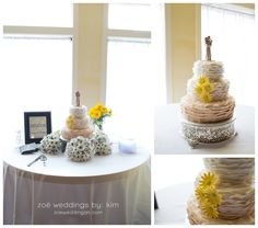 A unique wedding cake enlivens the space at Robbins Sanford Grand Hall in Searcy, Arkansas.