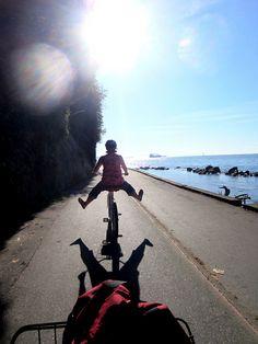 Biking the seawall through Stanley Park in Vancouver.