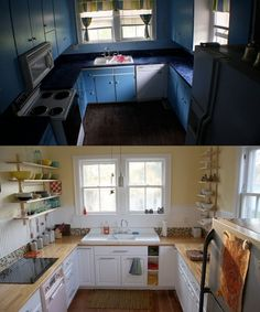 The kitchen remodel. Open ikea upper shelves, farmhouse kitchen sink, and 1950s stove. by advintagous (US)