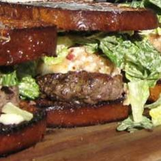 Bacon Brie Burgers with Caesar on Brioche Recipe | Just A Pinch Recipes