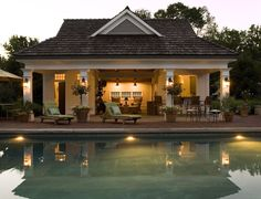 Laura tutun interiors pools pool house sliding glass for Pool guest house floor plans