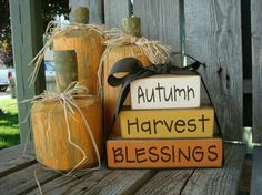 Autumn, Harvest, Blessing Fall Wood Block Set Thanksgiving Gift Home Season Decor Sign Personalized Primitive 2x4 Crafts, Fall Crafts, Holiday Crafts, Home Crafts, Holiday Ideas, Harvest Party, Fall Harvest, Harvest Moon, Harvest Time