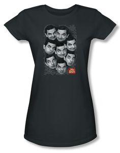 Mr. Bean Juniors Shirt Heads Charcoal Tee T-Shirt Mr. Bean Heads Shirts Mr. Bean Juniors Shirt Heads Charcoal Tee T-Shirt Officially Licensed