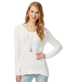 Knit V-Neck Sweater - Aeropostale