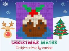 Christmas maths: division colour by number
