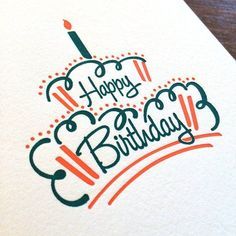 Happy Birthday Cake - Letterpress Card #happybirthday