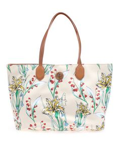 Another great find on #zulily! Ivory & Summer Green Camilla EW Tote by Tory Burch #zulilyfinds