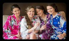 Set of 2 Kimono Floral Bridesmaid Robes Satin Silk Dressing Gown Wedding Robe gowns, bride robe, wedding party robes, satin robe, kimono. Bridal Party Robes, Gifts For Wedding Party, Bridal Gifts, Wedding Gowns, Wedding Bride, Best Friend Wedding, Bridesmaid Robes, Floral Kimono, Peacock