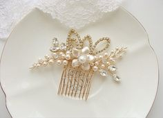 Romantic flower bridal hair comb featuring sweet hand-wrapped pearl flower with hand beaded gold branches of high quality Swarovski pearls and