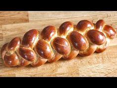 Vierstrangzopf (hoch) / 4-Strangzopf flechten - YouTube Best Homemade Bread Recipe, Braided Bread, Challah, Pretzel Bites, Baked Potato, Bread Recipes, Sausage, Cooking, Sweet