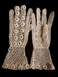 Irish crochet lace gloves