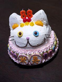 Misao's special birthday cake...... her beloved companion, Fukumaru!