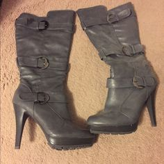 ❗️SALE❗️Grey Boots Calf length grey boots! Size 11. A few scuff marks on back and sides. See photos. About a 4 inch heel. Worn few times! No box! Offers accepted! Shoes Heeled Boots
