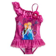 Disney Frozen Elsa  Anna Swimming Costume Swim Suit Girls Swimwear Purple cossie