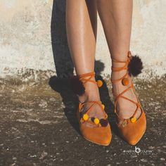 Aelia/lace up/pointed toe appartements/orange par aeliasandals