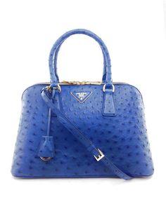 Prada Blue Saffiano Lux Ostrich Leather Struzzo Cobalto Tote Bag Purse NEW