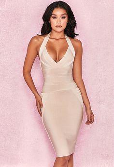 163db70f109db Sexy Halter Backless Nude Bandage Dress