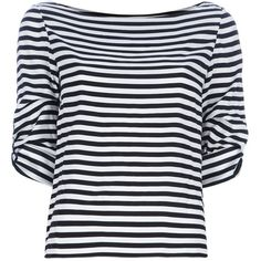 ALICE+OLIVIA Striped top (2.780 ARS) ❤ liked on Polyvore featuring tops, blouses, shirts, t-shirts, blusas, striped shirt, black and white shirt, black white stripe shirt, half sleeve shirts and black and white blouse