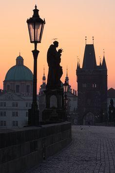 Charles Bridge Sunrise ..Prague...never tire of that city.