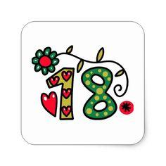Eighteen Cartoon Birthday Age Square Sticker