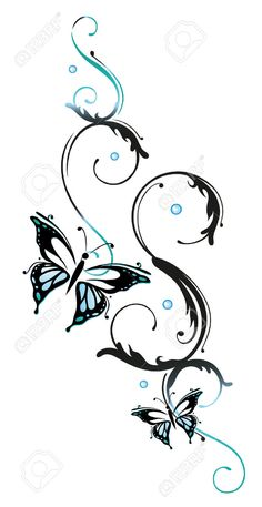 Blue Flowers And Butterflies, Floral Element Royalty Free Cliparts, Vectors, And Stock Illustration. Pic 23246877.