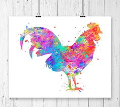 Rooster 1 Watercolor Art PrintPoster Wall Art Home Decor