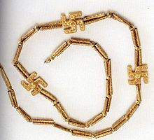 Golden necklace of three Swastikas found in Marlik, dates back to first millennium B.C. ~ The swastika symbol is thought to have been introduced in the East by Buddhism. Notice the date 1000 years BC, more than 2000 years before it became the hated symbol of the Nazi's.