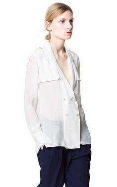 Image 1 of CROSSOVER TUXEDO STYLE SHIRT from Zara