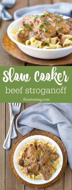 Slow Cooker Beef Stroganoff is a rich and creamy beef dish that's made in the crock pot. Great dinner recipe for busy weeknights!