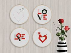 BOGO FREE! Love Cross Stitch Pattern, Heart Counted Cross Stitch Chart, Deer Red, Black Wall Home Modern Decor, PDF Instant Download #011-4 by StitchLine on Etsy Cross Stitch Love, Counted Cross Stitch Patterns, Wedding Cross Stitch Patterns, Black Walls, Modern Decor, Pattern Design, Deer, Valentines, Chart