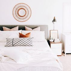 Shop The Printed Home's minimalistic chic master bedroom details and more – Most Beautiful Furniture Chic Master Bedroom, Modern Bedroom Decor, Gray Bedroom, Home Bedroom, Bedroom Furniture, Bedroom Ideas, Bedroom Inspiration, Bedroom Designs, Contemporary Bedroom