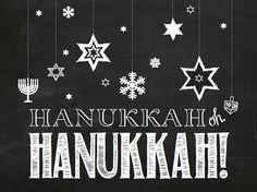 Hanukkah oh Hanukkah!! Adorable Hanukkah chalkboard sign, printable file from Pins for Paws on Etsy. Chanukah Decor