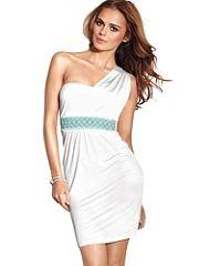 One-Shoulder Monaco Dress...like this with the wrap around rhinestone sandal stilettos