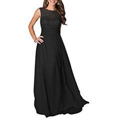 LOVEBEAUTY® Women's Long Sleeveless Chiffon Formal Prom Party Evening Dress