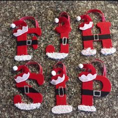 Christmas ornaments Hand Painted Wooden Santa Ornaments All Letters Available Letter Ornaments, Kids Christmas Ornaments, Christmas Crafts To Make, Homemade Christmas Gifts, Handmade Christmas, Christmas Fun, Holiday Crafts, Santa Ornaments, Christmas Letters