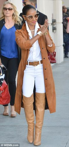 Camel colored ensemble: Jada - who later covered up in a beige suede coat - will celebrate...