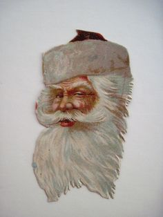 Vintage Victorian Antique Christmas Die-Cut of Santa's Jolly's Face & Beard   *