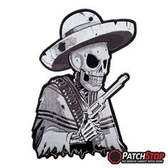 Subdued Mexican Gunslinger Skull Patch - Embroidered grey subdued skeleton wearing a poncho and sombrero with a gun, on a velvety black cut-out patch with a black border.