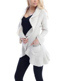 Another great find on #zulily! Ivory Ruffle & Pocket Shawl Collar Open Cardigan #zulilyfinds