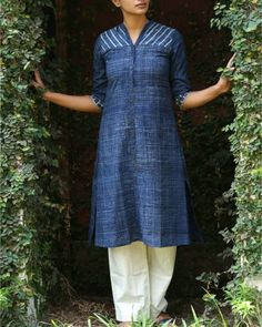 Navy Blue Cotton Printed Tunic I Shop at :http://www.thesecretlabel.com/shalini-james