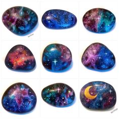 "189 Likes, 10 Comments - Mo'Ology Art (@mo.ology) on Instagram: ""✨UPDATE only #1,#9 is available✨Here's a few of the large Galaxy stones! Hopefully they'll all be…"""
