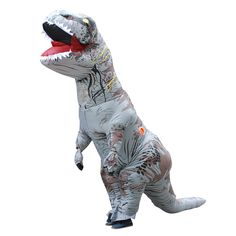 2017 Adult Gray Polyester T-REX INFLATABLE Dinosaur Cosplay Costume